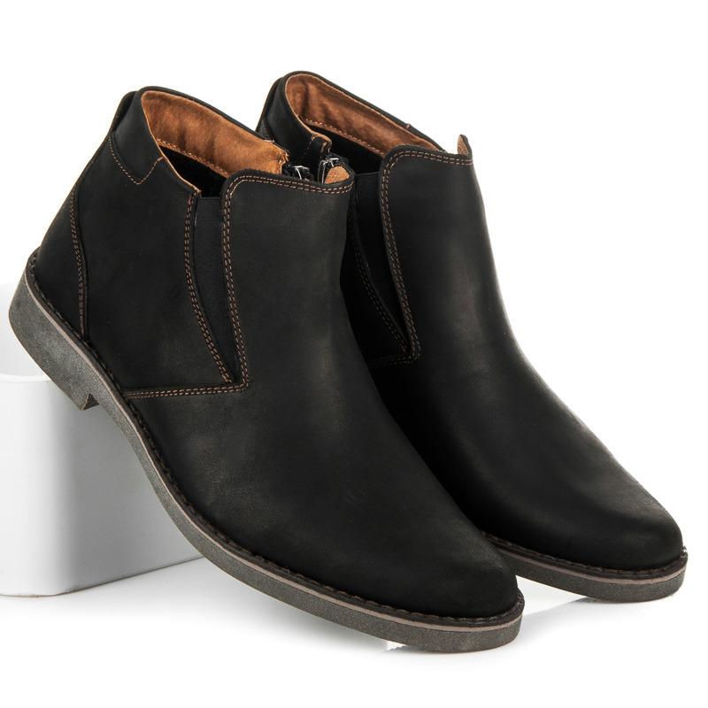Pánské černé kožené kotníkové boty se zipem