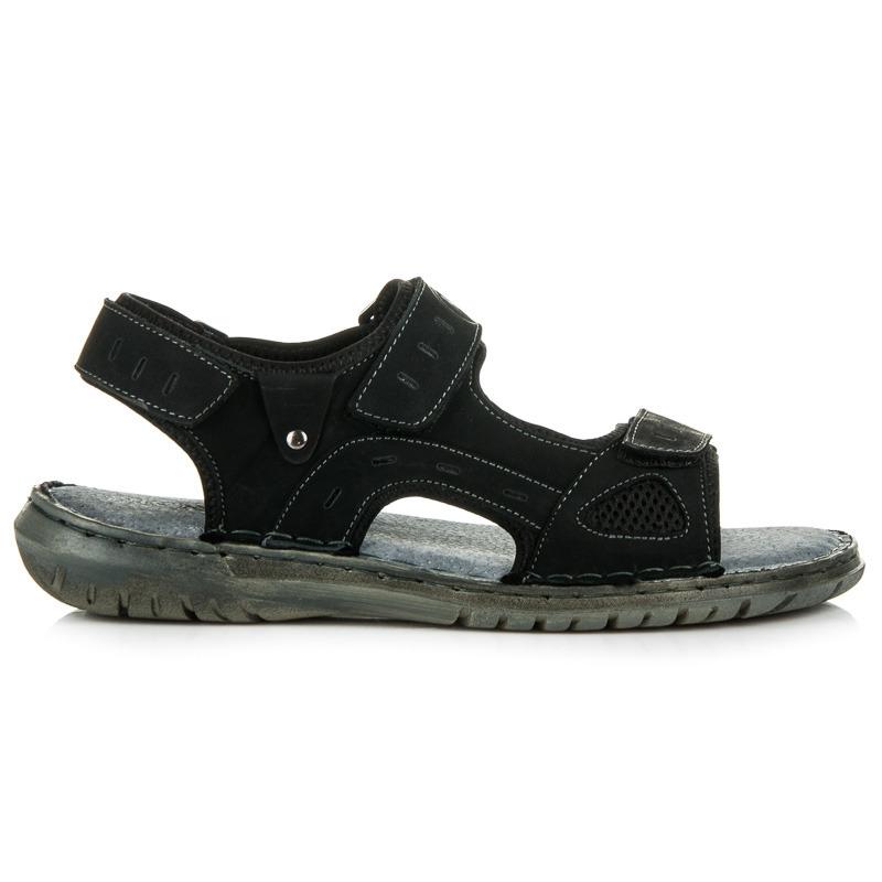 Pánské černé kožené sportovní sandály