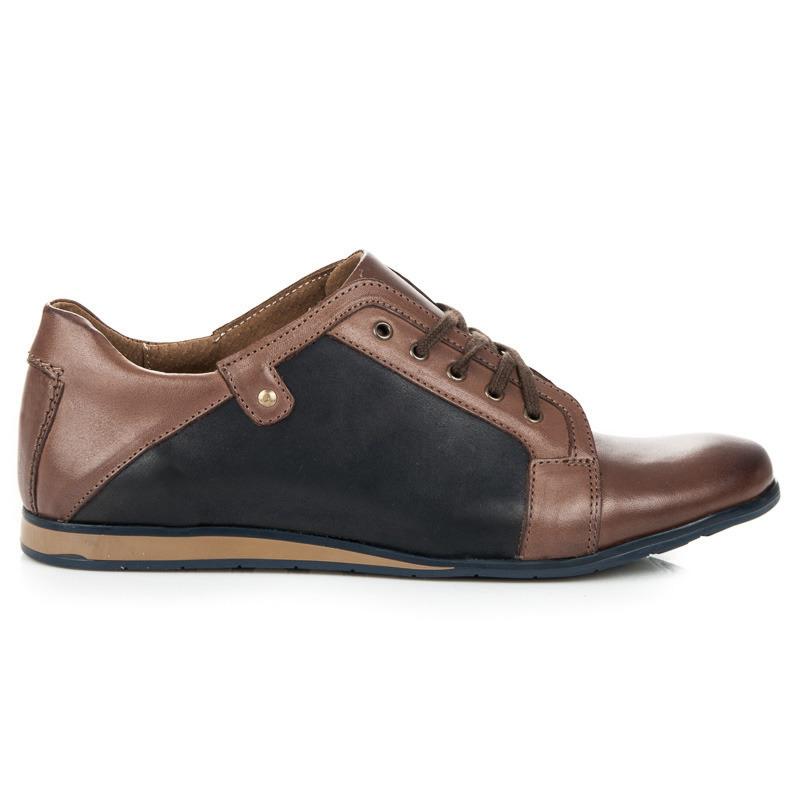 Pánské hnědočerné kožené boty