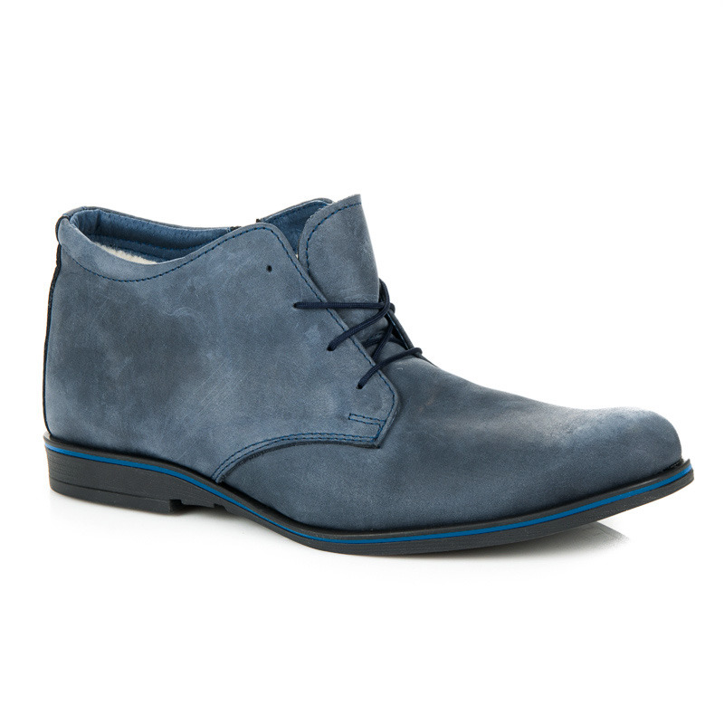 Pánské modré kotníkové boty