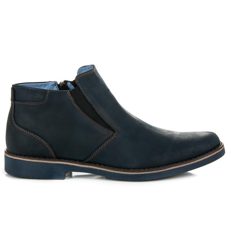 Pánské modré kožené kotníkové boty se zipem