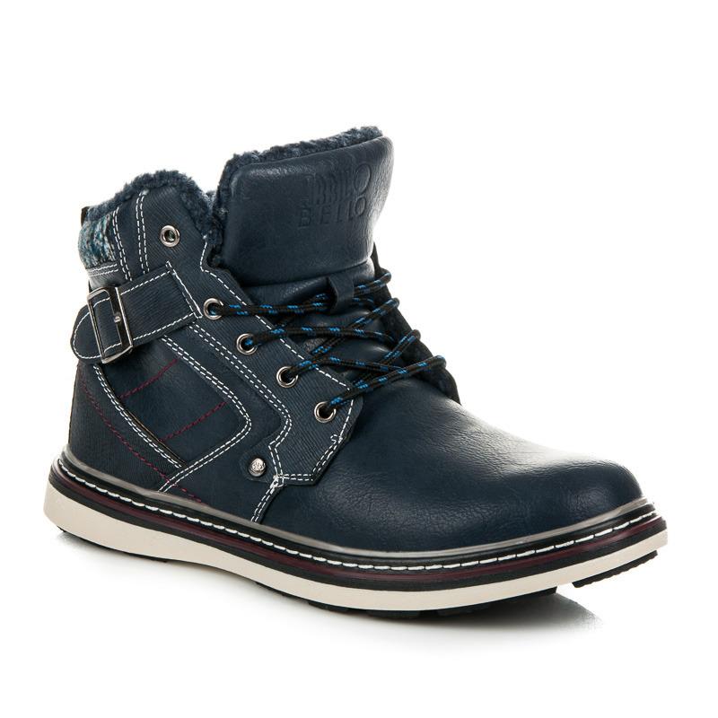 Pánské modré zimní kotníkové boty