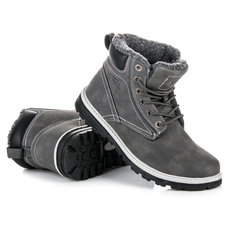 Parádní šedé pánské kotníkové boty
