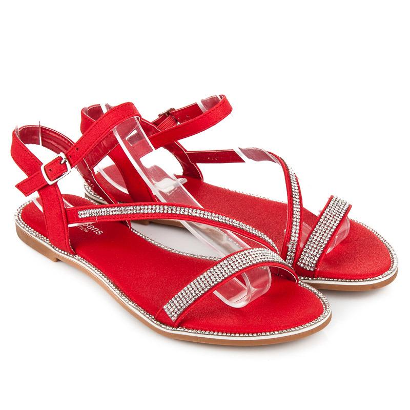 Páskové červené sandály s kamínky