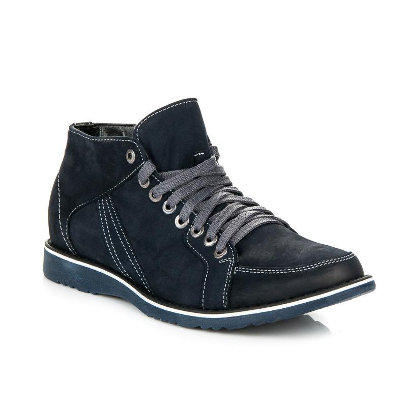 Podzimní modré šněrovací pánské kotníkové boty