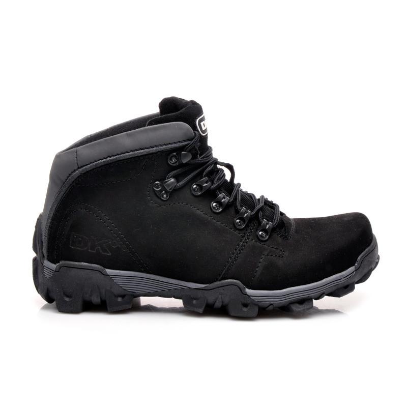 Pohodlné černé kožené trekingové boty