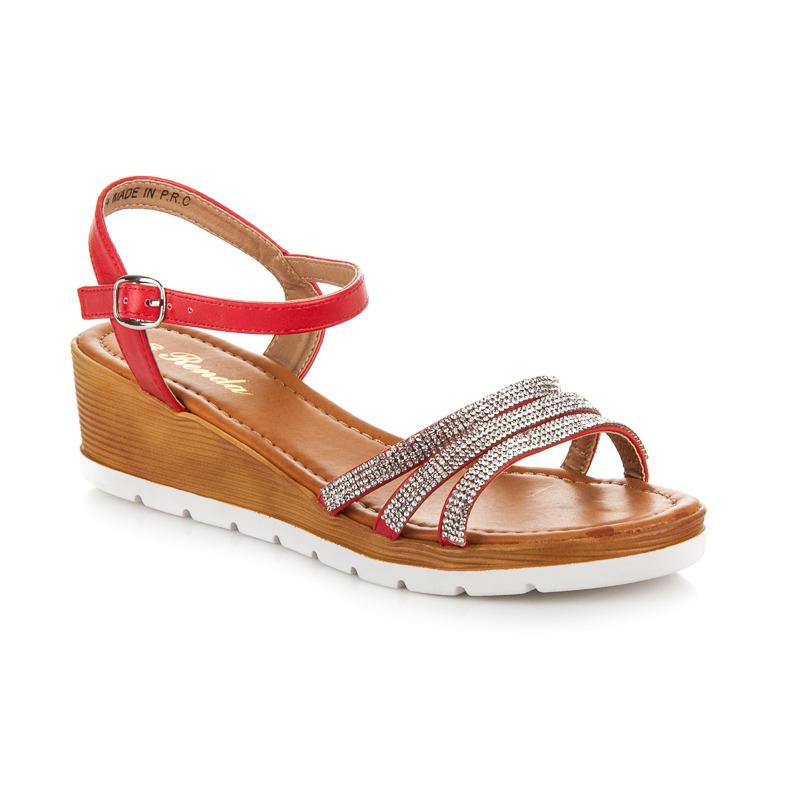 Pohodlné červené páskové sandály s kamínky
