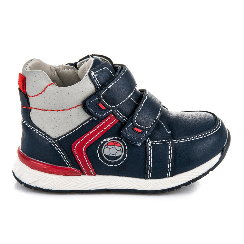 Pohodlné dětské modro-červené kotníkové boty
