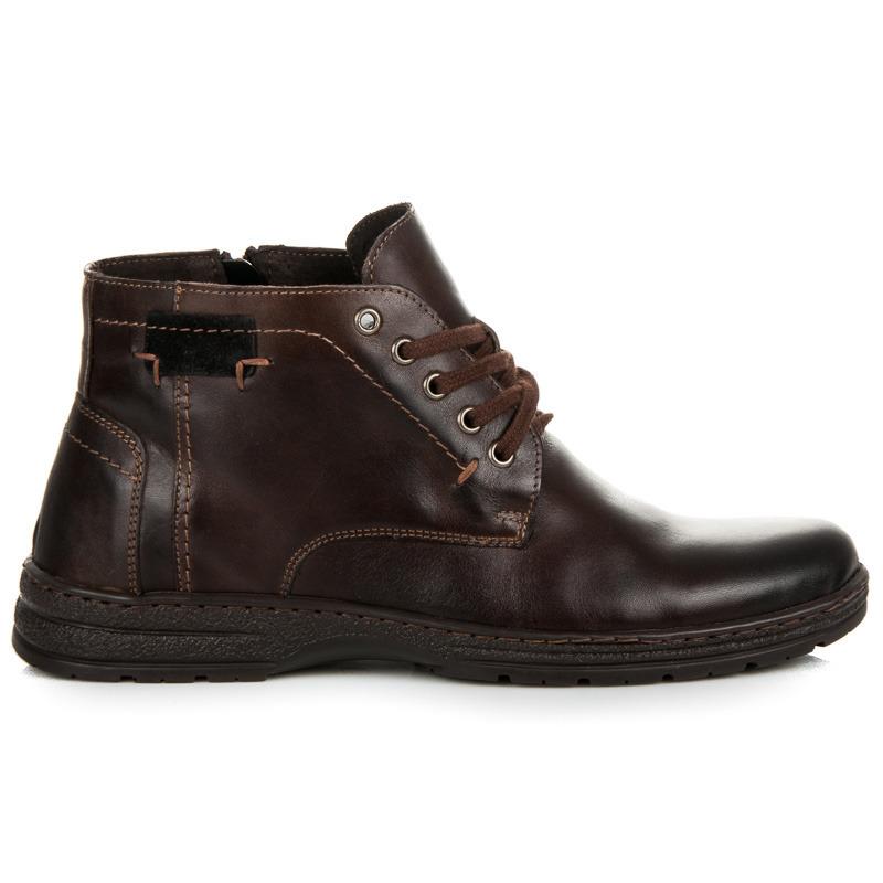 Pohodlné hnědé kožené pánské kotníkové boty