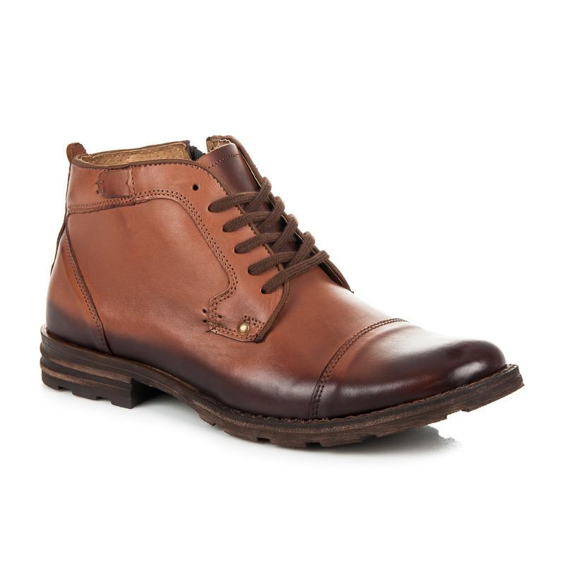 Pohodlné hnědé pánské kotníkové boty s kožíškem