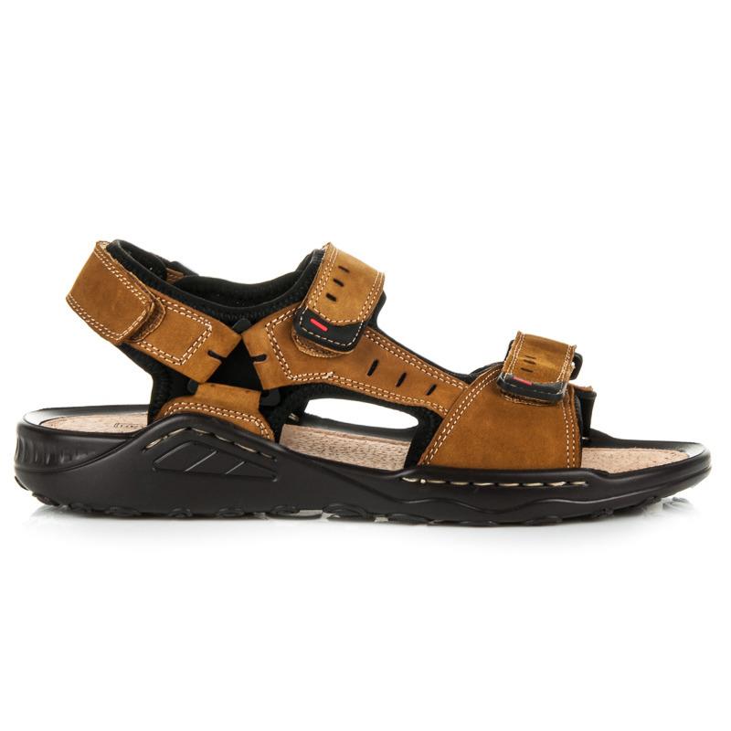 Pohodlné hnědé pánské sandály z kůže