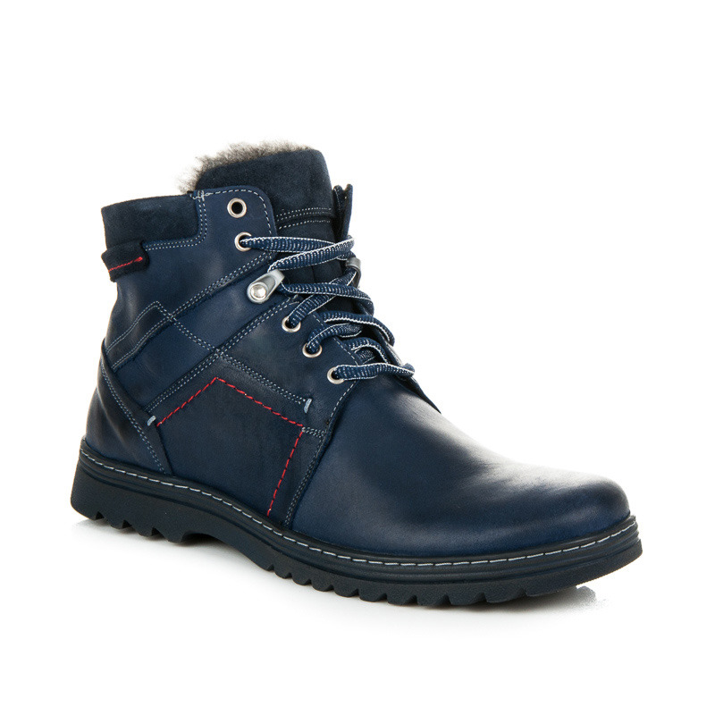 Pohodlné modré kožené pánské zimní boty