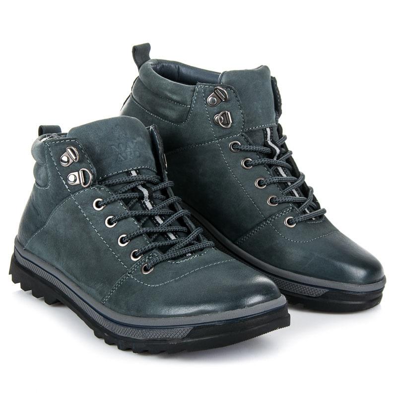 Pohodlné modré pánské kotníkové boty