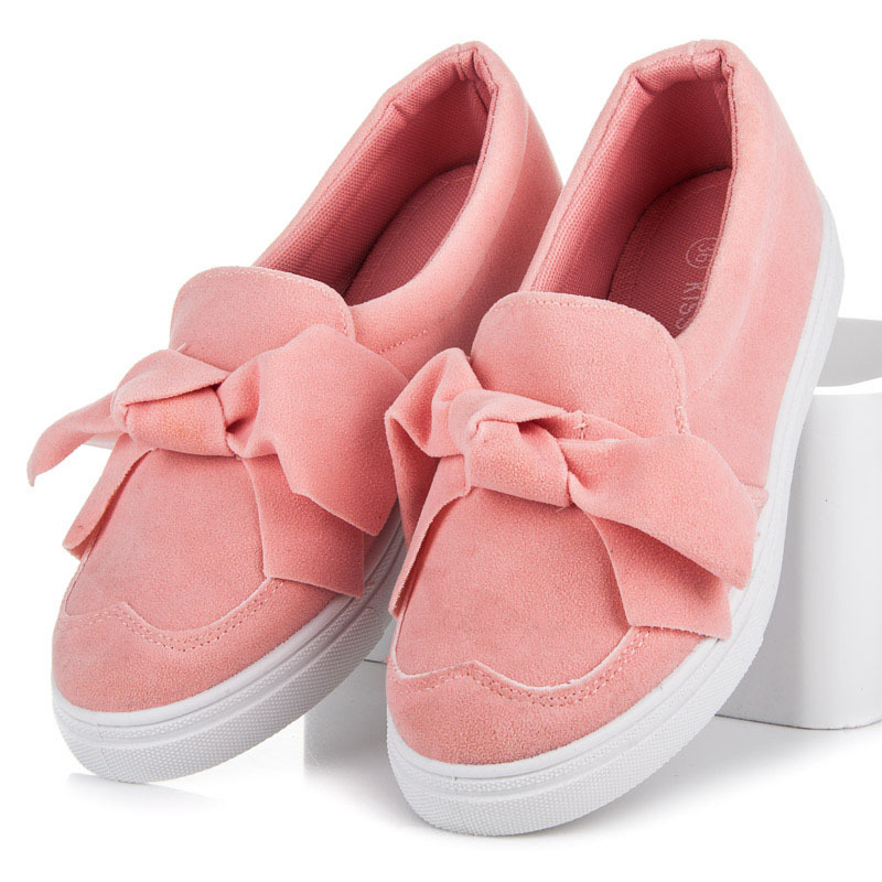 Pohodlné růžové tenisky s mašlí