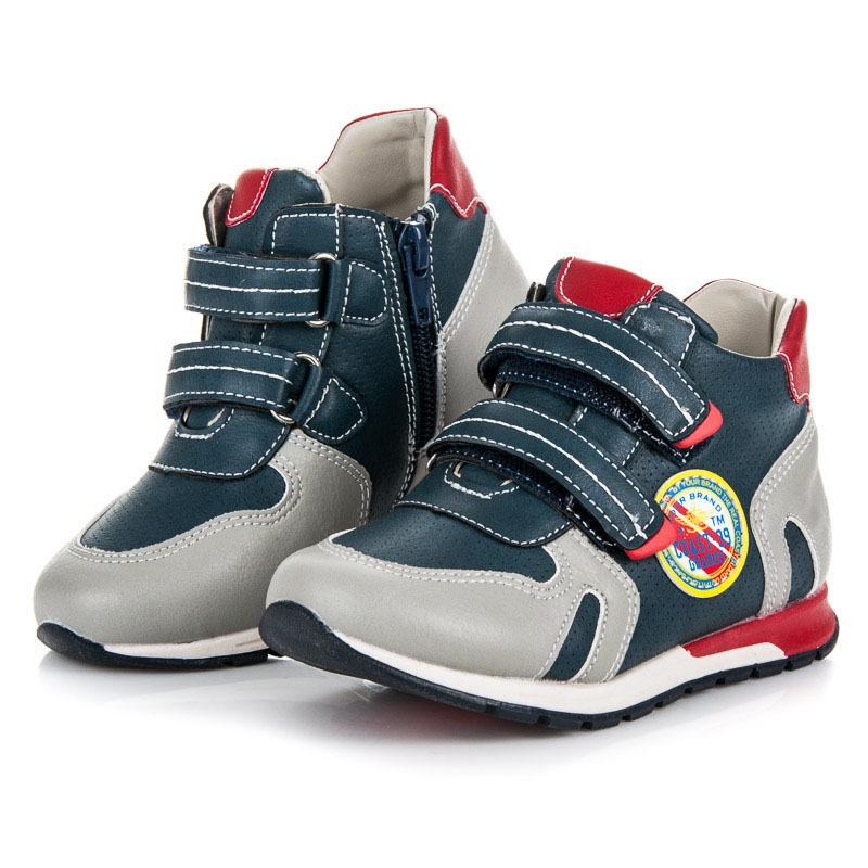 Pohodlné šedo-modré dětské kotníkové boty na suchý zip