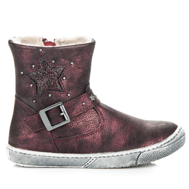 Pohodlné vínové dětské kotníkové boty s přezkou