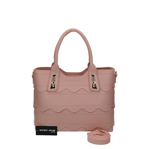 Praktická růžová kabelka s pěkným prošíváním