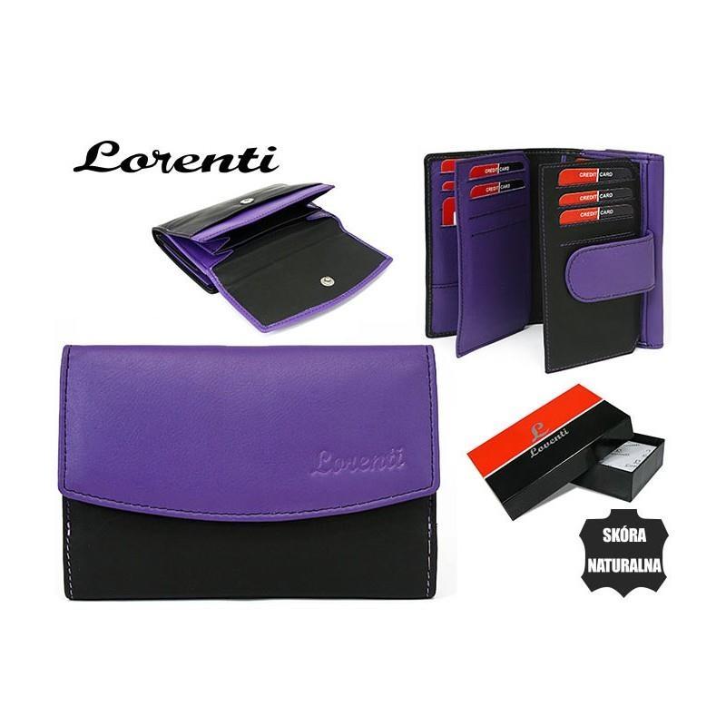 Prostorná černo-fialová dámská kožená peněženka