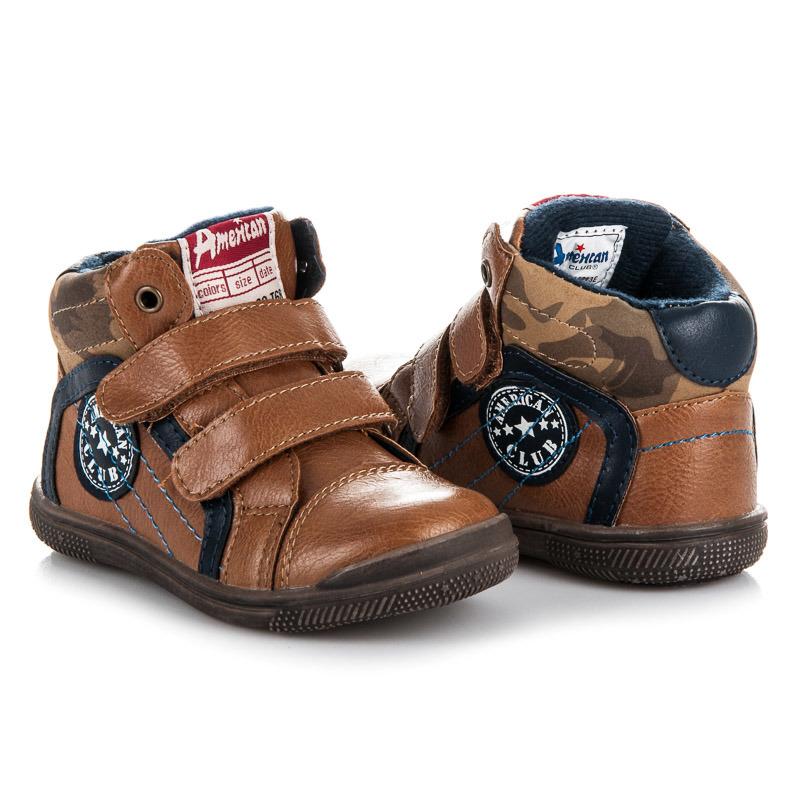 Prvotřídní hnědé chlapecké kotníkové boty na suchý zip