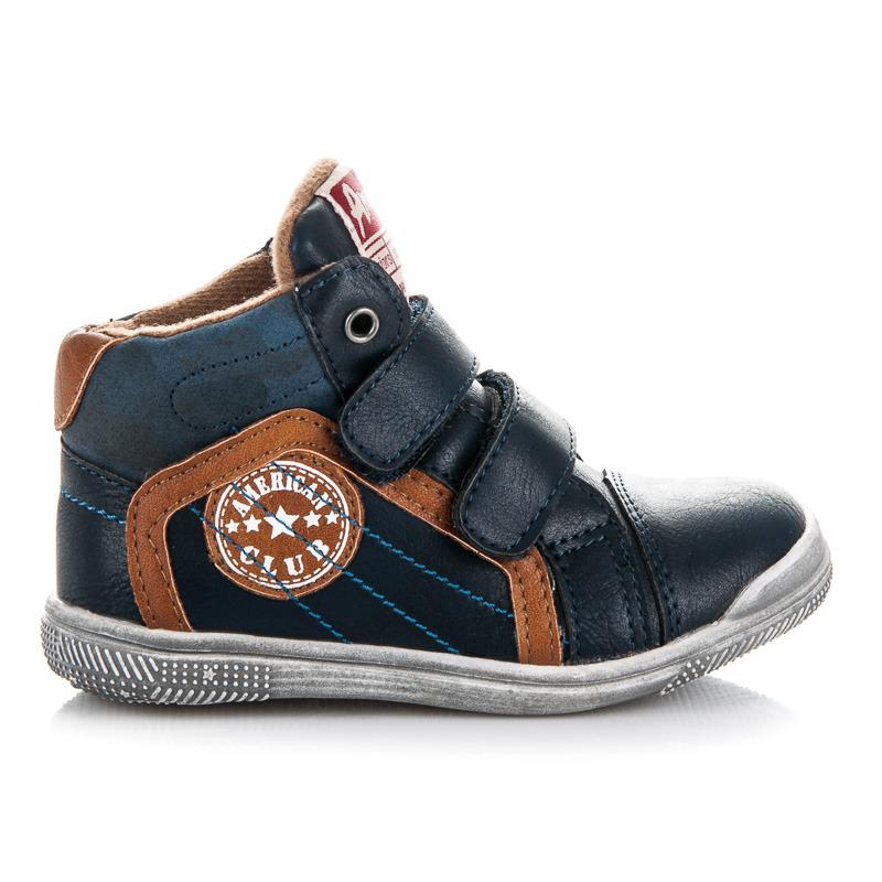 Prvotřídní modré chlapecké kotníkové boty na suchý zip