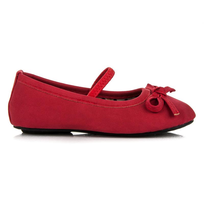 Roztomilé červené dívčí baleríny s gumičkou