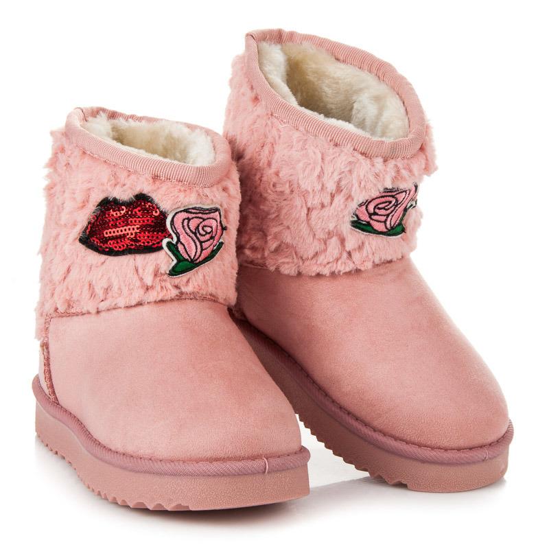 Růžové dětské sněhule s vtipnými výšivkami