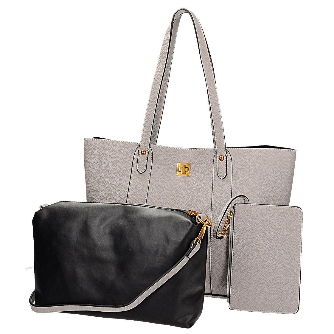 Šedá kabelka s odnímatelnou kosmetickou taškou a pouzdrem na klíče 8e8a45708ec