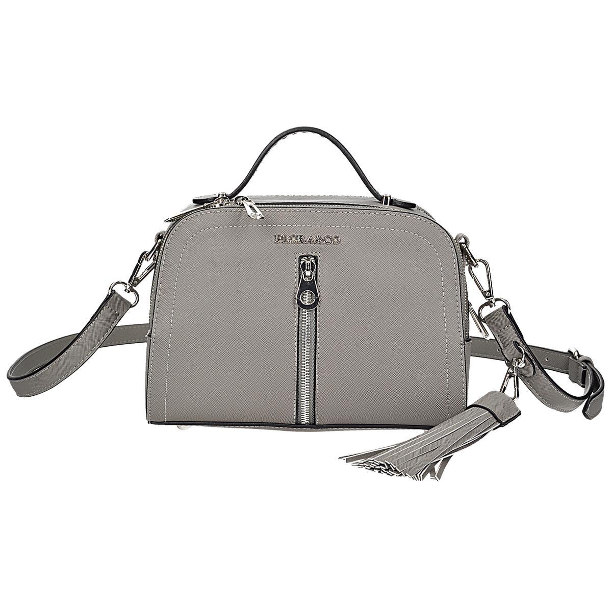Šedá menší kabelka-kufřík, má 2 stylově odlišné řemínky