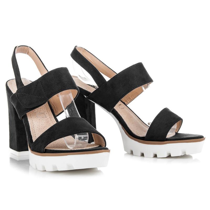 Semišové černé sandály na podpatku a platformě