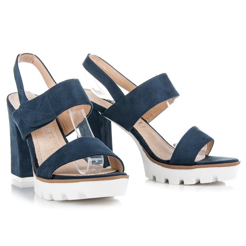 Semišové modré sandály na podpatku a platformě
