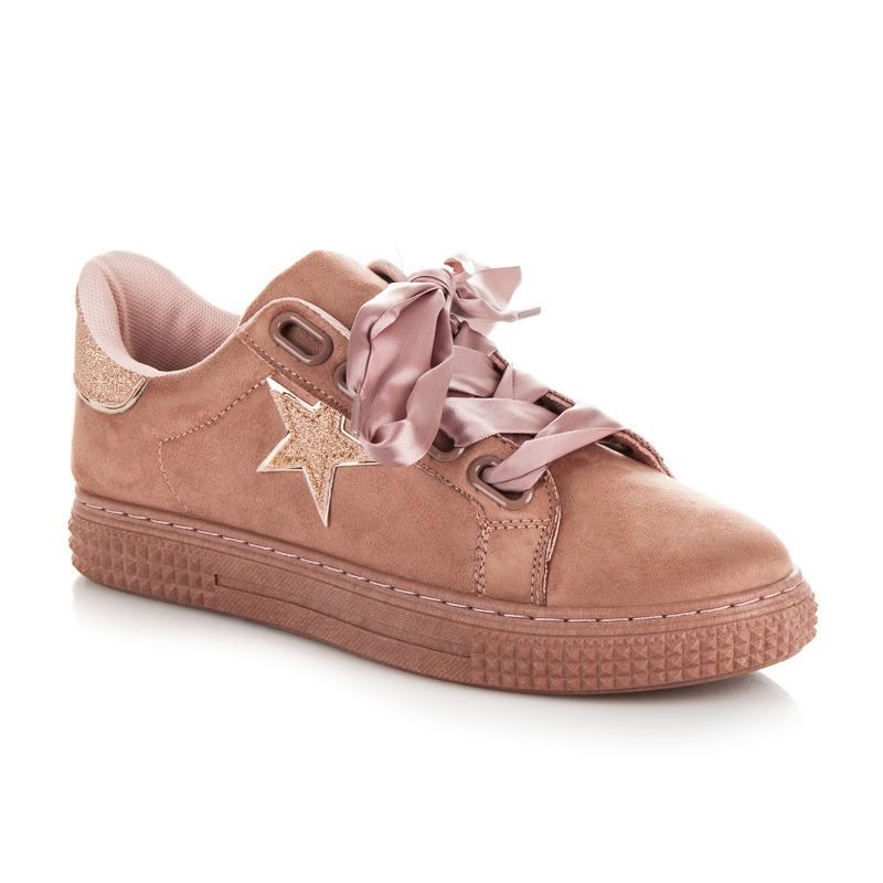 Semišové růžové tenisky s hvězdou