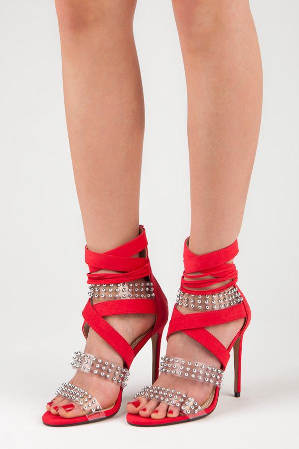 Sexy červené sandály na vysoké jehle s kamínky
