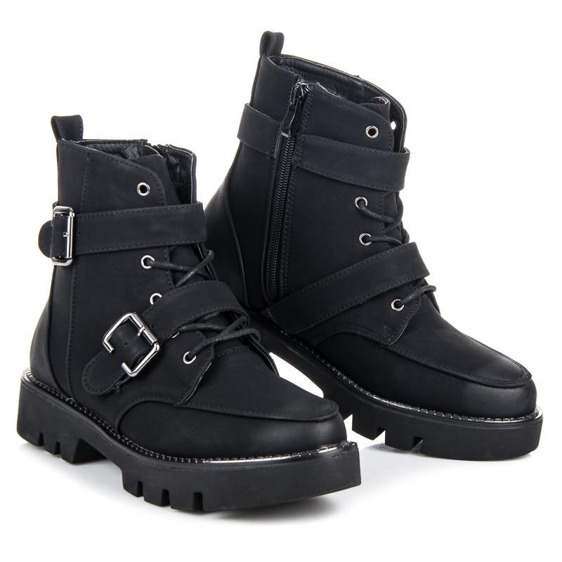 Skvělé černé kotníkové boty na platformě