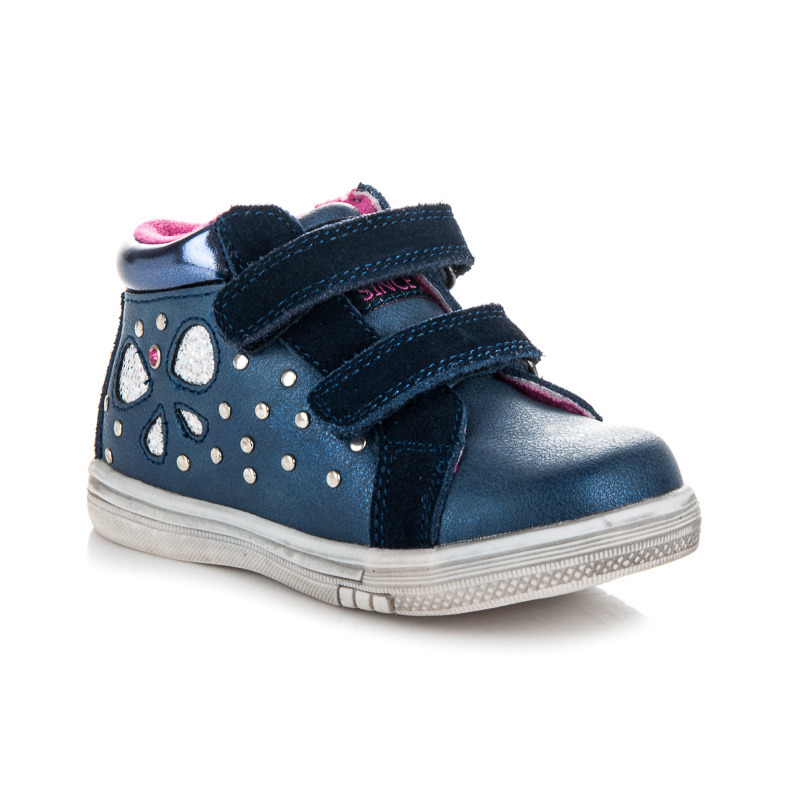 Skvělé modré dětské kotníkové boty na suchý zip