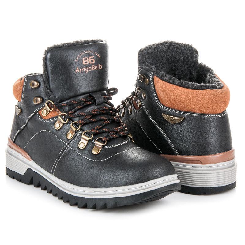 Šněrovací černé pánské kotníkové boty