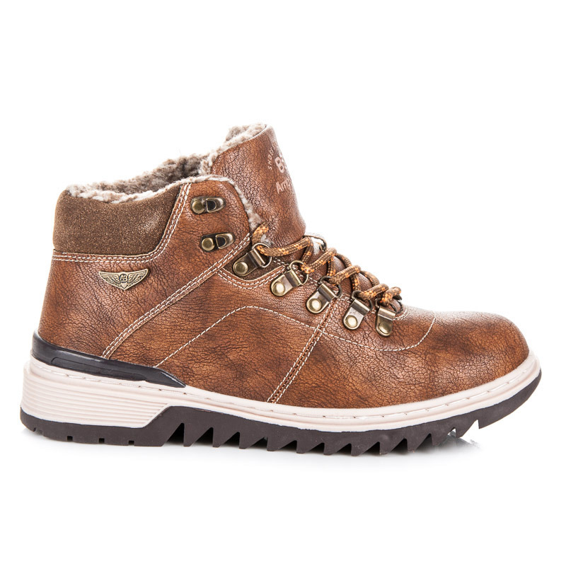 Šněrovací hnědé pánské kotníkové boty