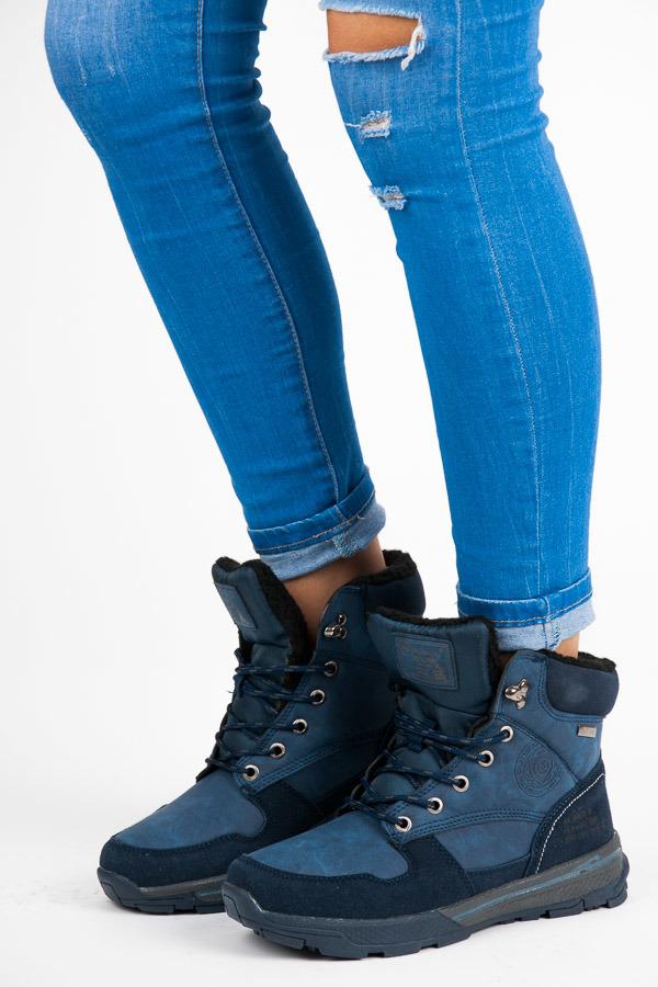 Sportovní modré kotníčkové boty s kožíškem 26f0ec4b70