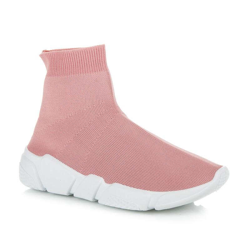 Sportovní růžové tenisky s ponožkou