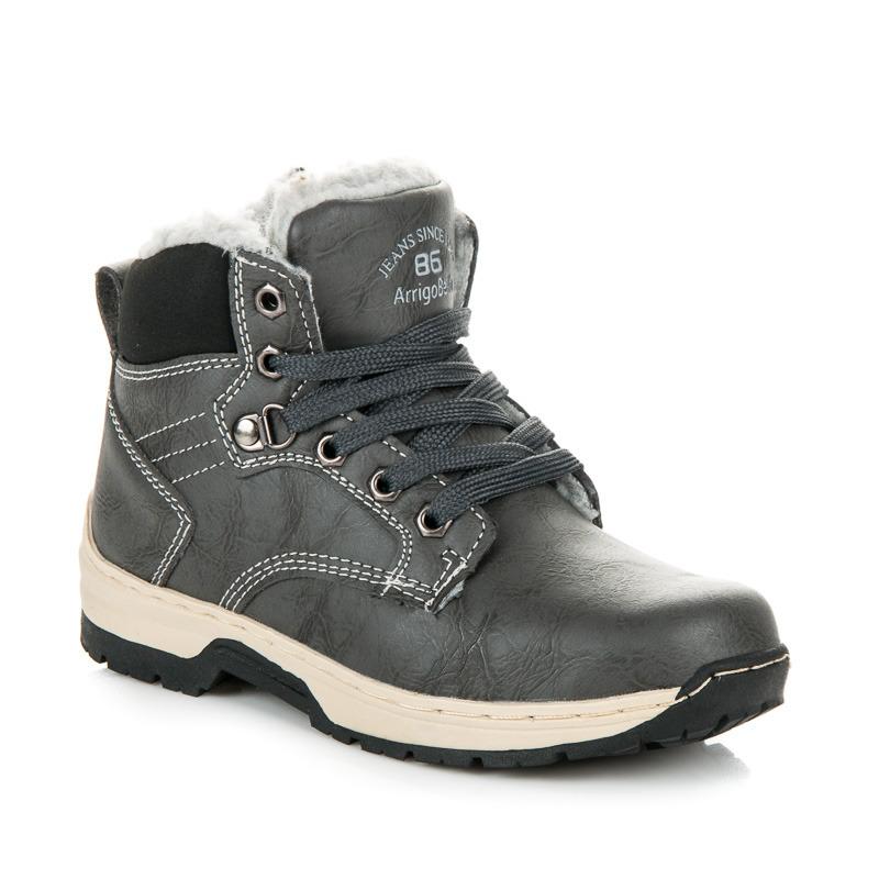 Sportovní šedé dětské kotníčkové boty s kožíškem
