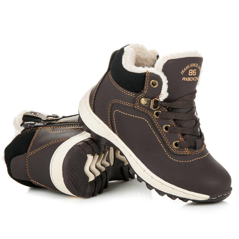 Sportovní tmavě hnědé dětské zimní boty s kožíškem 044050750b