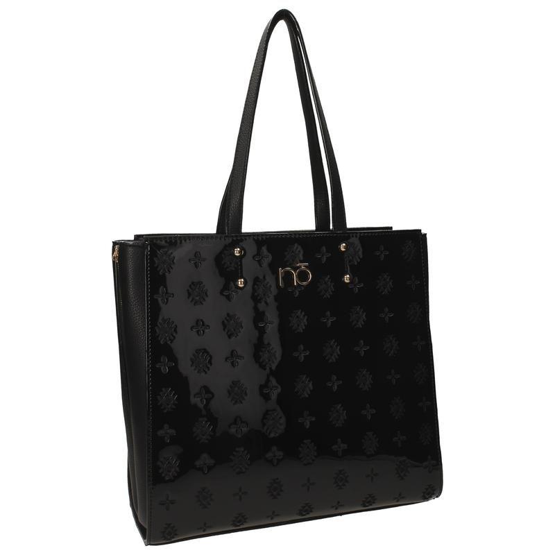 Stylová černá lakovaná kabelka se vzorem
