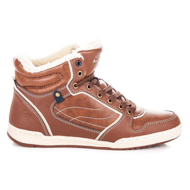 Stylové hnědé pánské kotníkové boty s kožíškem