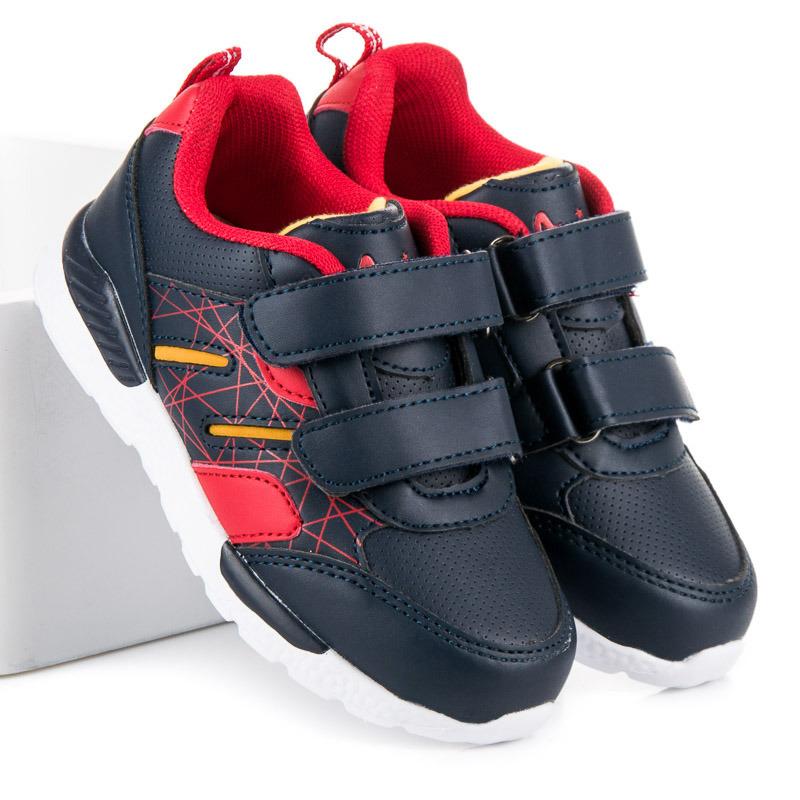 Stylové modré chlapecké kožené boty na suchý zip 4a9dc2fd1c