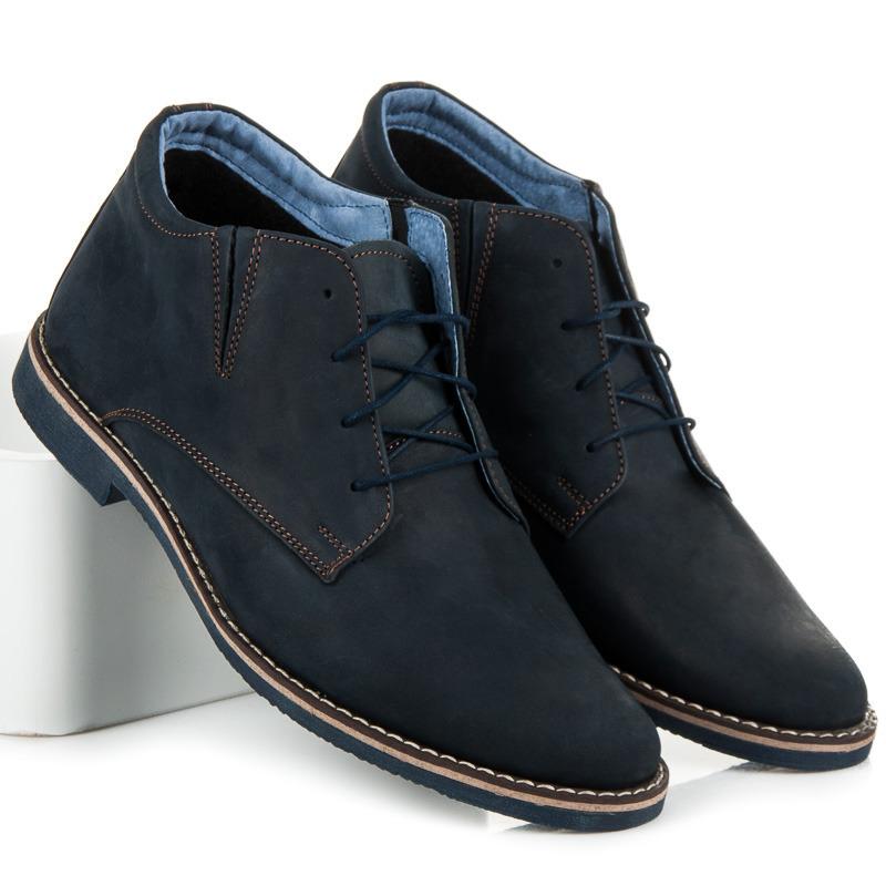 Stylové modré kožené pánské kotníkové boty