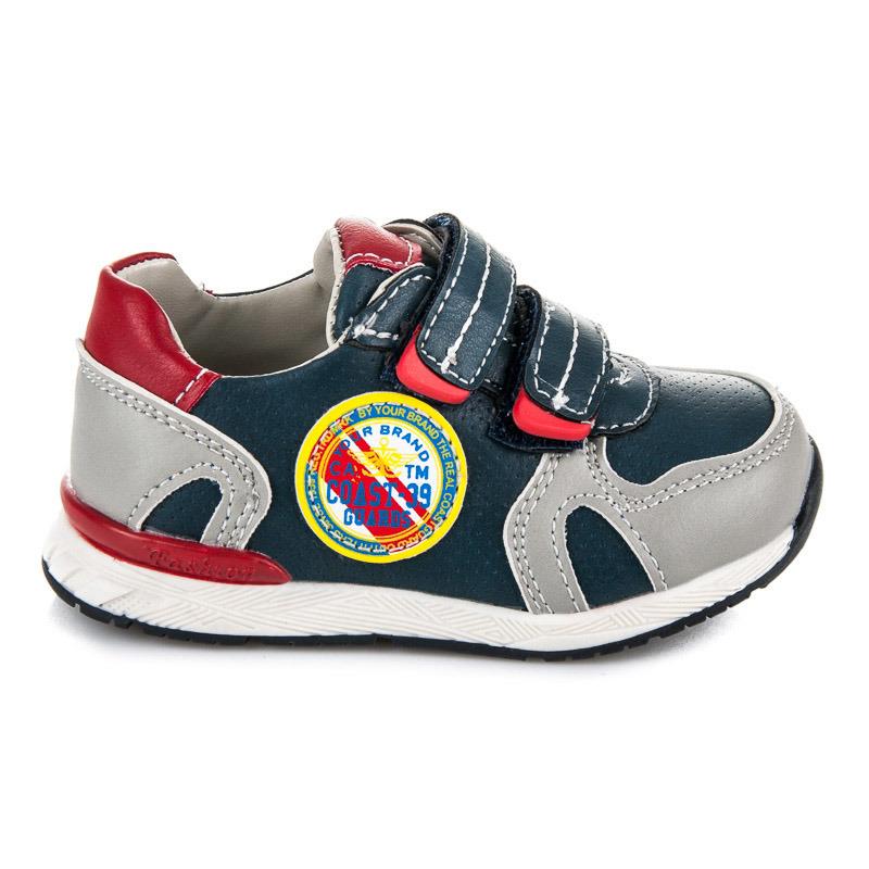 Stylové modro-šedé dětské sportovní botasky na suchý zip