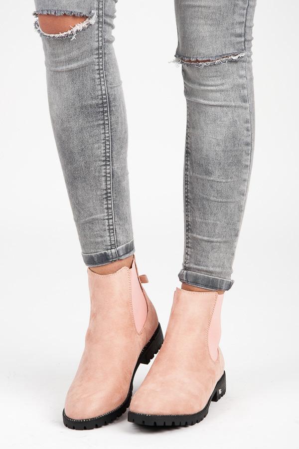 Stylové růžové nízké kotníkové boty s mašlí