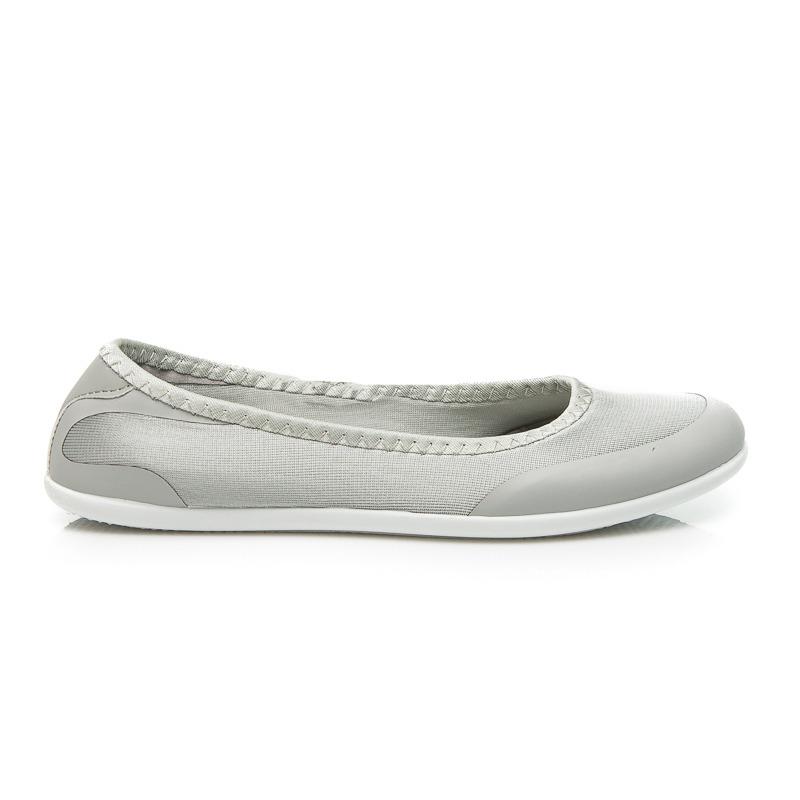 Stylové šedé baleríny na bílé gumové podrážce