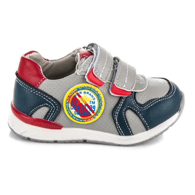 Stylové šedé dětské sportovní botasky na suchý zip