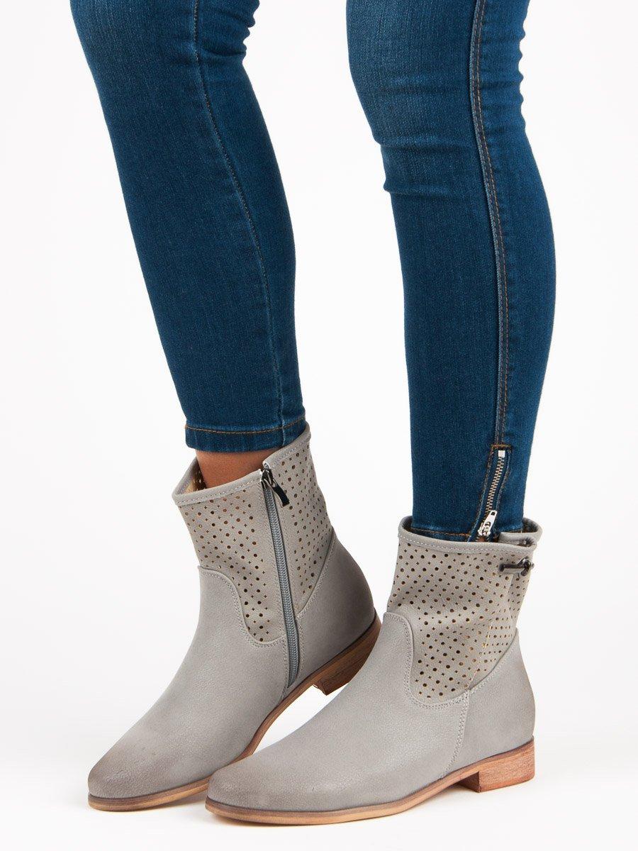Stylové šedé kotníkové boty  43acc59689