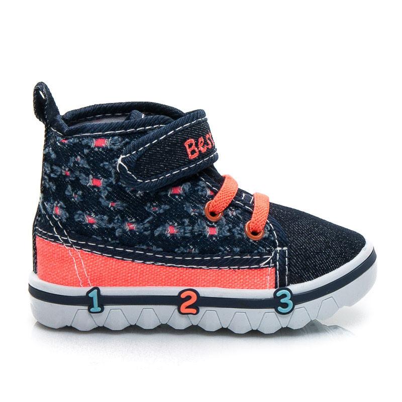 Stylové tmavě modré dětské sportovní boty